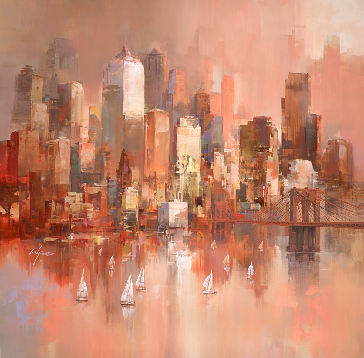 City Sundown VI by wilfred -  sized 38x38 inches. Available from Whitewall Galleries